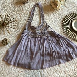 Purple lace neck crop top